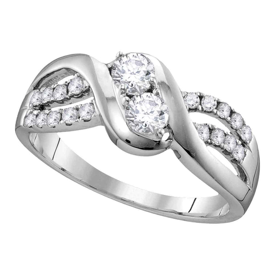 10kt White Gold Womens Round Diamond 2-stone Bridal Wedding Engagement Ring 5/8 Cttw