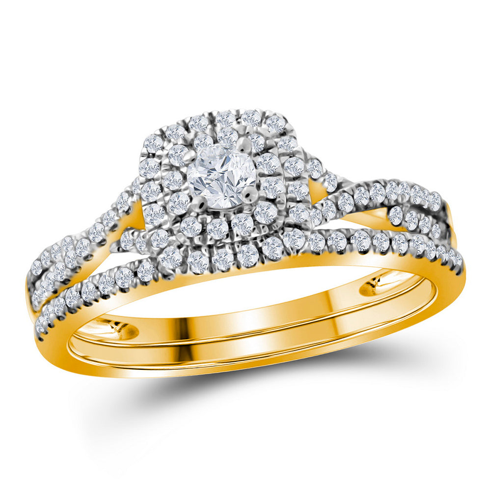 10kt Yellow Gold Womens Round Diamond Halo Bridal Wedding Engagement Ring Band Set 1/2 Cttw