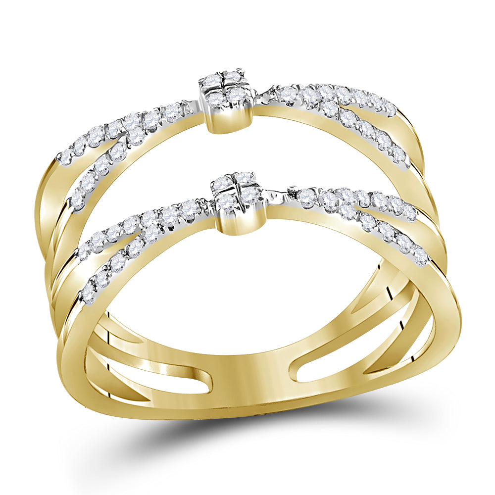 10kt Yellow Gold Womens Round Diamond Pinched Strand Fashion Band Ring 1/3 Cttw