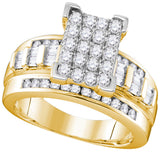 Yellow-tone Sterling Silver Womens Round Diamond Cluster Bridal Wedding Engagement Ring 1.00 Cttw