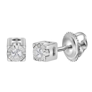 Sterling Silver Womens Round Diamond Solitaire Screwback Earrings 1/20 Cttw