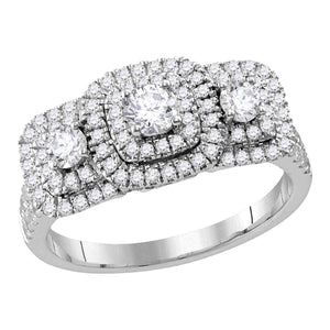14kt White Gold Womens Round Diamond 3-stone Bridal Wedding Engagement Ring 1.00 Cttw