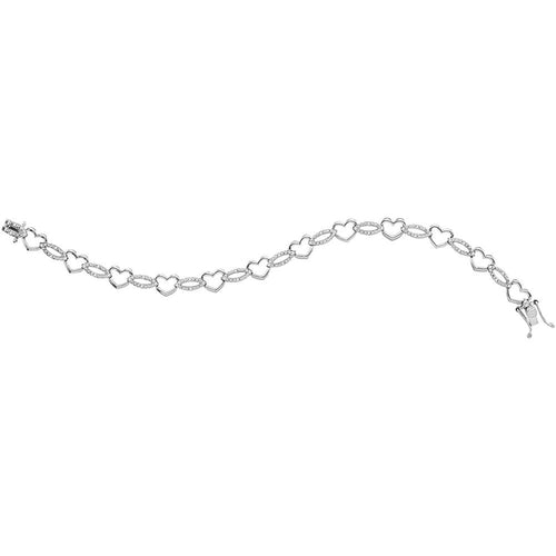 Sterling Silver Womens Round Diamond Heart Outline Link Bracelet 1/12 Cttw