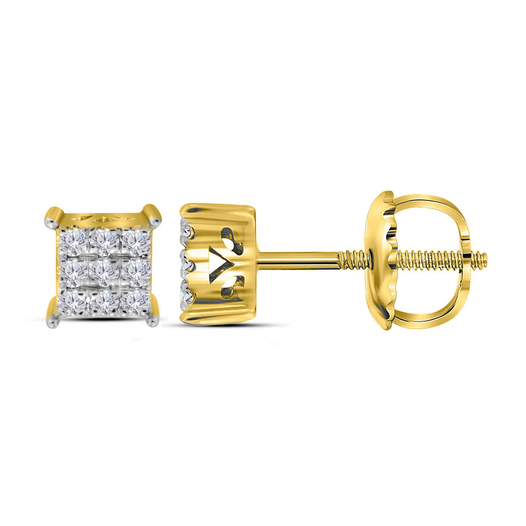 10kt Yellow Gold Womens Round Diamond Cindys Dream Square Cluster Stud Earrings 1/6 Cttw
