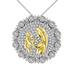 Sterling Silver Womens Round Diamond Yellow-tone Mom Mother Embrace Circle Medallion Pendant 1/4 Cttw