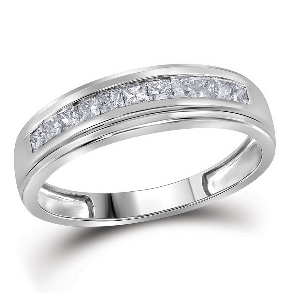10kt White Gold Mens Princess Diamond Single Row Wedding Band Ring 3/4 Cttw