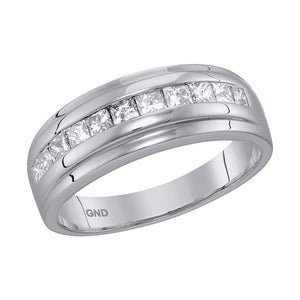 10kt White Gold Mens Princess Diamond Single Row Wedding Band Ring 1.00 Cttw