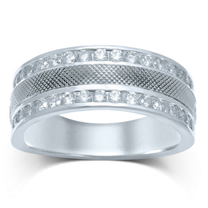 14kt White Gold Mens Round Diamond Double Row Textured Wedding Band Ring 1.00 Cttw
