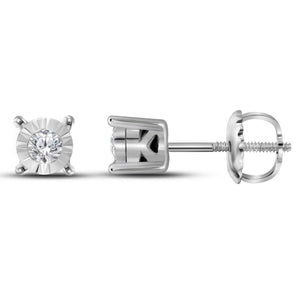 10kt White Gold Womens Round Diamond Solitaire Stud Earrings 1/10 Cttw