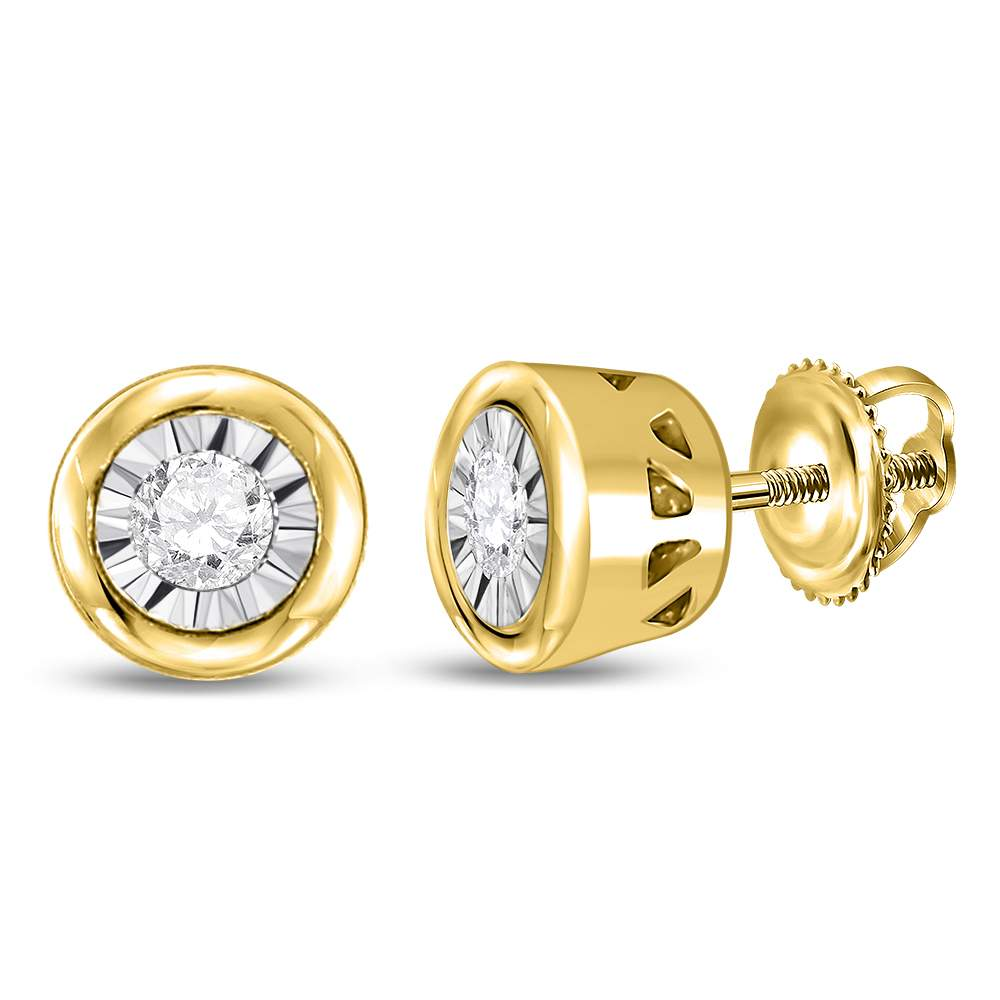 10kt Yellow Gold Womens Round Diamond Solitaire Screwback Stud Earrings 1/10 Cttw