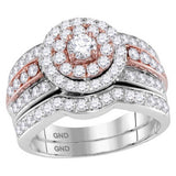 14kt Two-tone Gold Womens Round Diamond Bridal Wedding Engagement Ring Band Set 1-1/2 Cttw