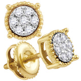 10kt Yellow Gold Womens Round Diamond Flower Cluster Milgrain Stud Earrings 1/10 Cttw