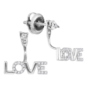 10kt White Gold Womens Round Diamond Love Stud Jacket Earrings 1/10 Cttw