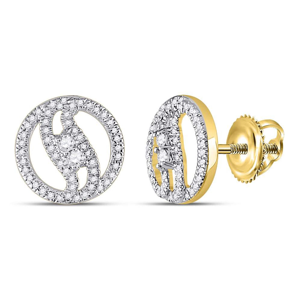 10kt Yellow Gold Womens Round Diamond 2-stone Circle Stud Earrings 1/4 Cttw
