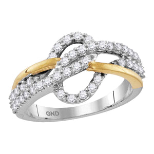 10kt Two-tone White Yellow Gold Womens Round Diamond Woven Band Ring 5/8 Cttw