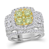 14kt White Gold Womens Round Yellow Diamond Bridal Wedding Engagement Ring Band Set 3.00 Cttw