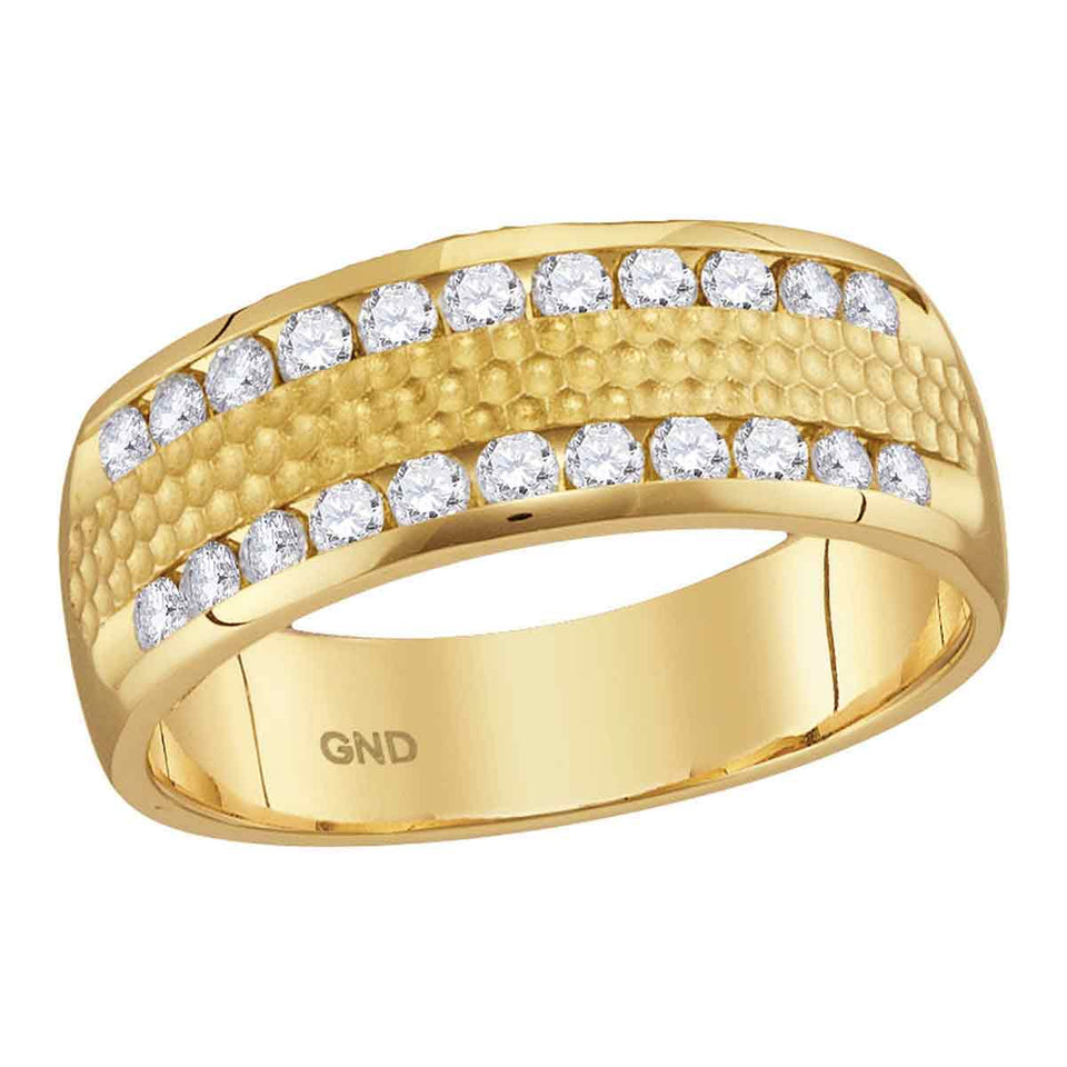 14kt Yellow Gold Mens Round Diamond Double Row Hammered Wedding Band Ring 1/2 Cttw