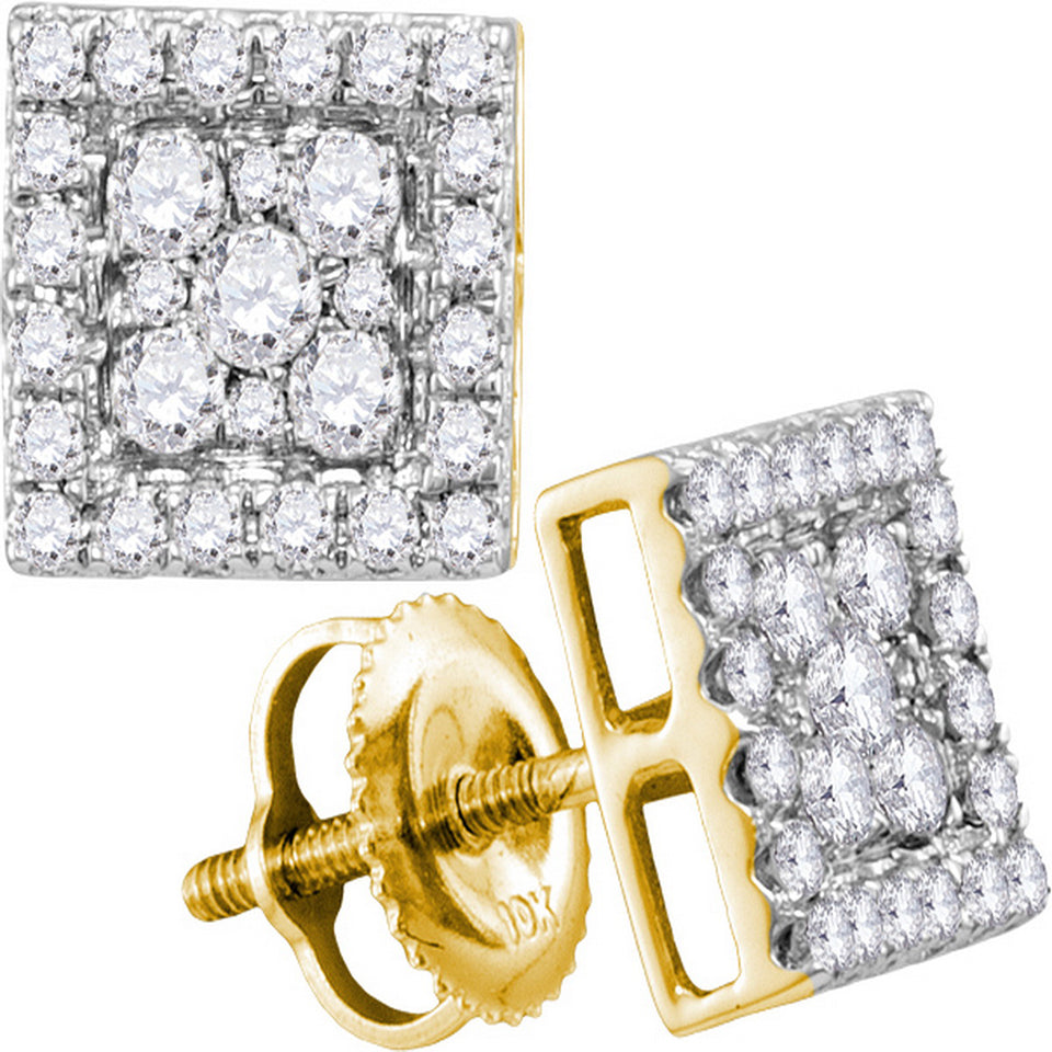 10kt Yellow Gold Womens Round Diamond Square Cluster Stud Earrings 1/2 Cttw