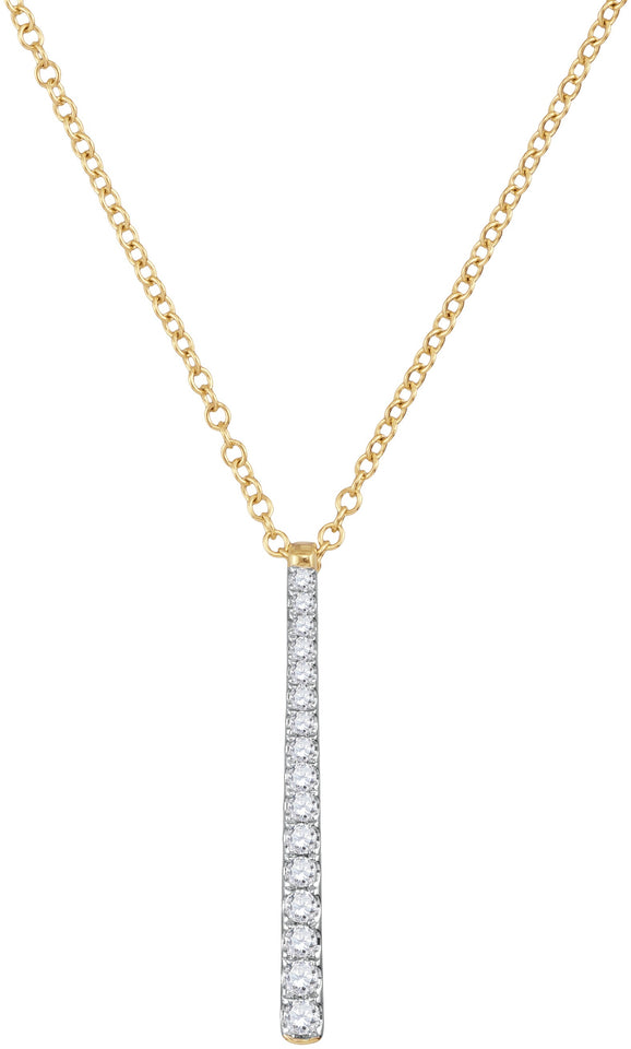 10kt Yellow Gold Womens Round Diamond Stick Drop Fashion Pendant 1/5 Cttw