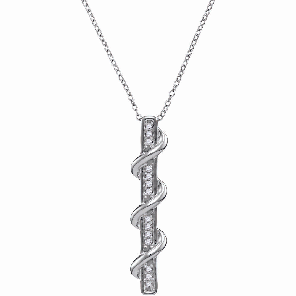 10kt White Gold Womens Round Diamond Cascading Vertical Bar Pendant 1/8 Cttw