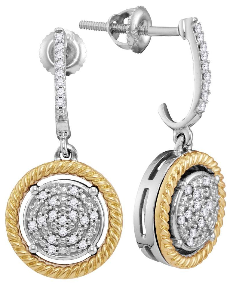 10kt Two-tone Gold Womens Round Diamond Rope Circle Dangle Earrings 1/8 Cttw