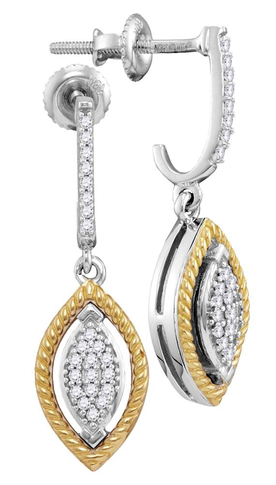 10kt Two-tone Gold Womens Round Diamond Rope Oval Dangle Earrings 1/8 Cttw