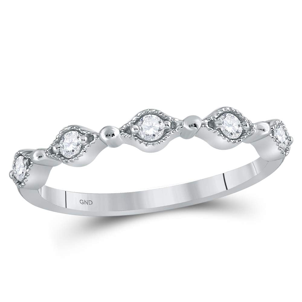 10kt White Gold Womens Round Diamond Stackable Band Ring 1/8 Cttw