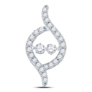 14kt White Gold Womens Round Diamond Moving Twinkle 2-stone Pendant 1/2 Cttw