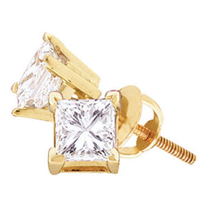 14kt Yellow Gold Unisex Princess Diamond Solitaire Stud Earrings 1.00 Cttw