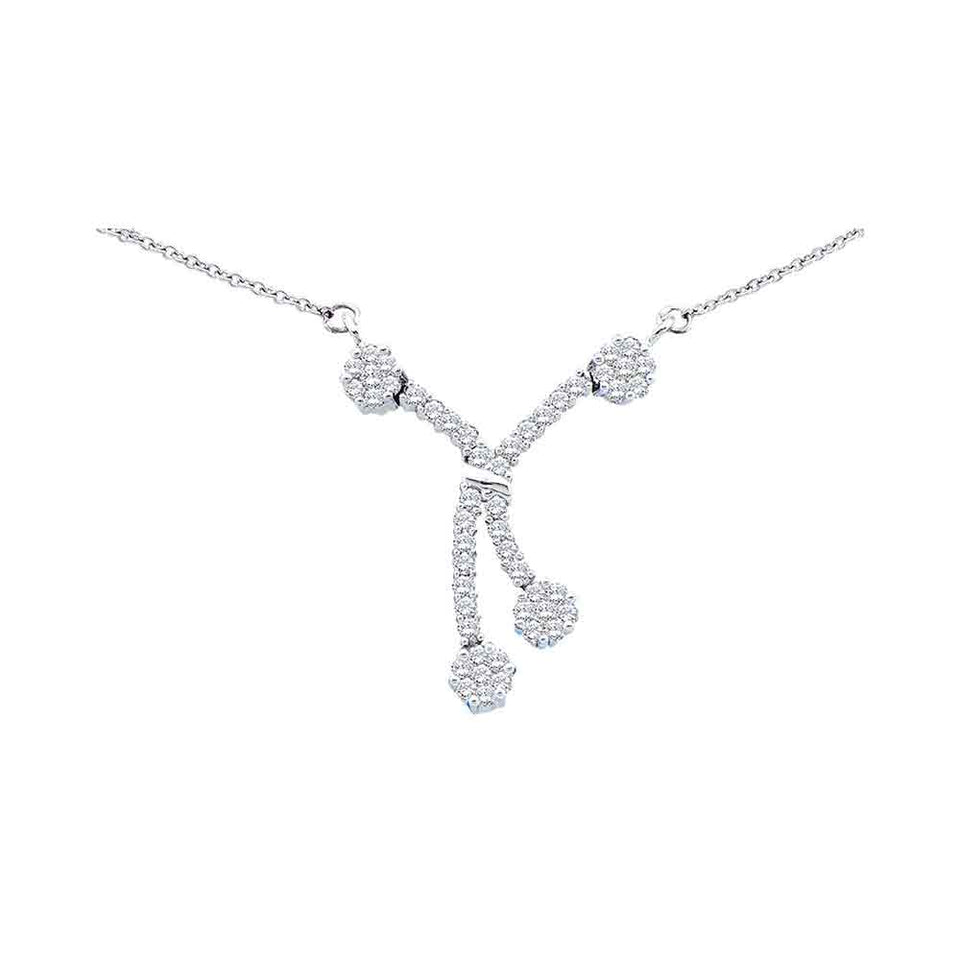 14kt White Gold Womens Round Diamond Dangle Flower Cluster Fashion Necklace 1/2 Cttw