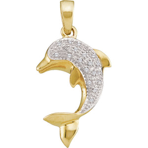 14kt Yellow Gold Womens Round Diamond Dolphin Fish Animal Pendant 1/10 Cttw