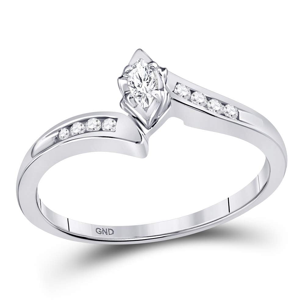 10kt White Gold Womens Marquise Diamond Marquise Bridal Wedding Engagement Ring 1/6 Cttw