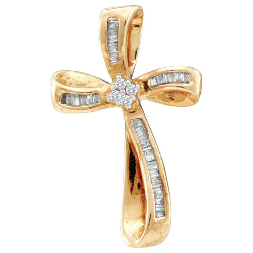 14kt Yellow Gold Womens Round Diamond Cross Faith Pendant 1/4 Cttw