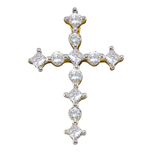 14kt Yellow Gold Womens Princess Round Diamond Cross Religious Pendant 3/8 Cttw