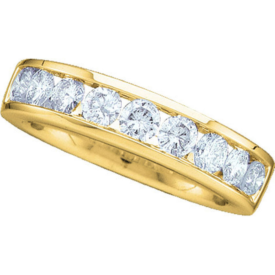14kt Yellow Gold Womens Round Channel-set Diamond Wedding Band 1/2 Cttw - Size 8