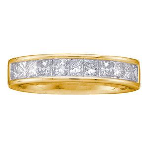 14kt Yellow Gold Womens Princess Channel-set Diamond Single Row Wedding Band 1 Cttw - Size 9