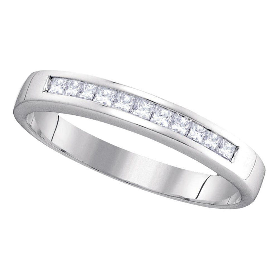 14kt White Gold Womens Princess Channel-set Diamond Single Row Wedding Band 1/4 Cttw - Size 5