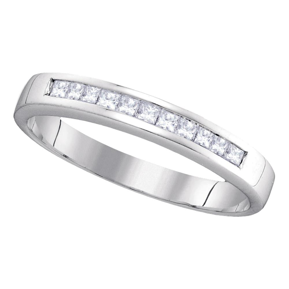 14kt White Gold Womens Princess Channel-set Diamond Single Row Wedding Band 1/4 Cttw - Size 6