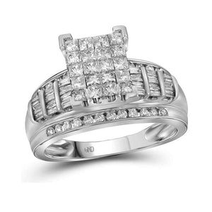 14kt White Gold Womens Princess Diamond Cluster Bridal Wedding Engagement Ring 2.00 Cttw - Size 5
