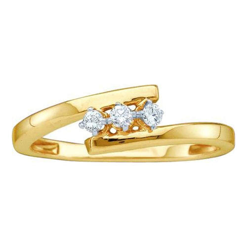 10kt Yellow Gold Womens Round Diamond 3-stone Bridal Wedding Engagement Ring 1/10 Cttw