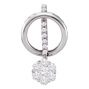 14kt White Gold Womens Round Diamond Flower Cluster Dangle Pendant 3/4 Cttw