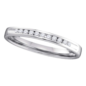 14kt White Gold Womens Round Channel-set Diamond Single Row Wedding Band 1/10 Cttw