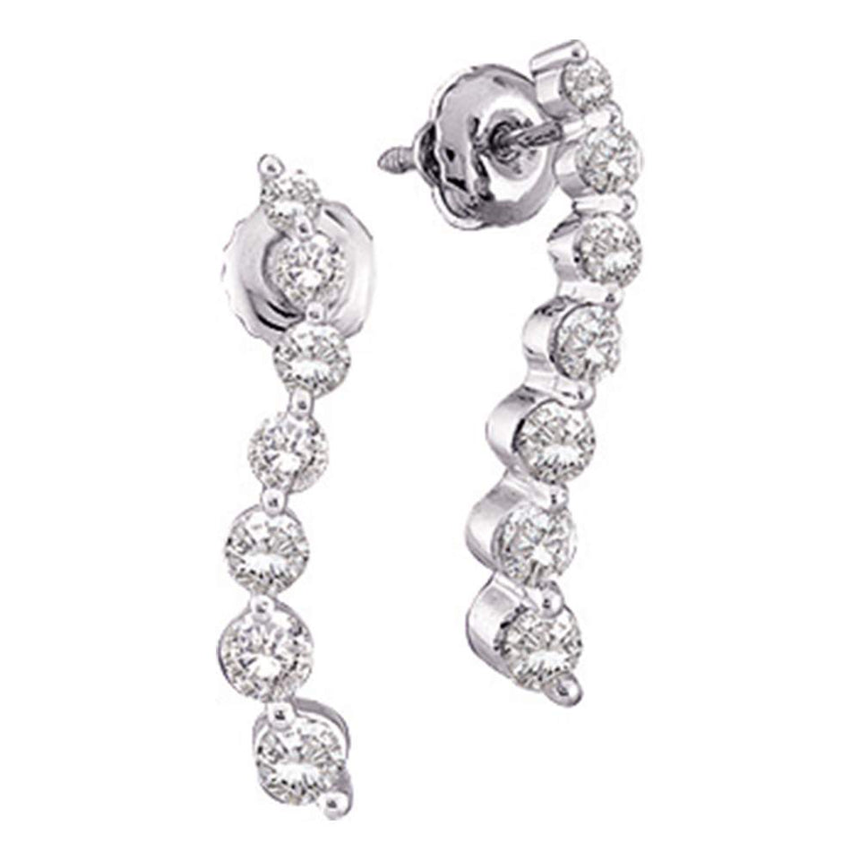 14k White Gold Round Diamond Womens Journey Love Anniversary Screwback Stud Earrings 1/4 Cttw