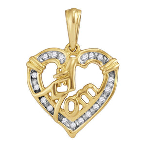 Yellow-tone Sterling Silver Womens Round Diamond Mom Mother Pendant 1/8 Cttw