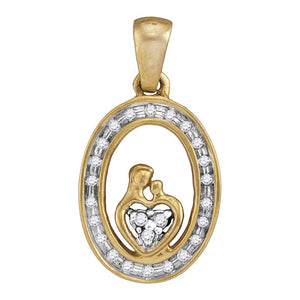 Yellow-tone Sterling Silver Womens Round Diamond Mom Child Oval Pendant 1/8 Cttw
