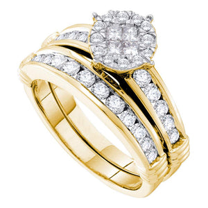 14kt Yellow Gold Womens Princess Diamond Soleil Bridal Wedding Engagement Ring Band Set 7/8 Cttw