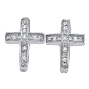 Sterling Silver Womens Round Diamond Cross Faith Huggie Hoop Earrings 1/20 Cttw