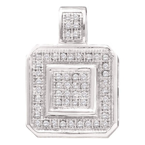 10kt White Gold Womens Round Diamond Square Fashion Cluster Pendant 1/6 Cttw