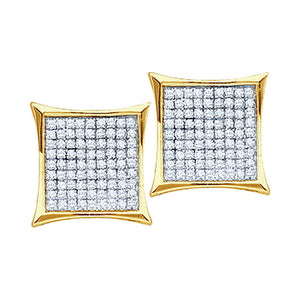 10kt Yellow Gold Womens Round Diamond Square Kite Cluster Earrings 1/10 Cttw