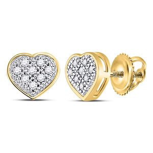 63d2d319f 10kt Yellow Gold Womens Round Diamond Heart Cluster Screwback Earrings 1/20  Cttw